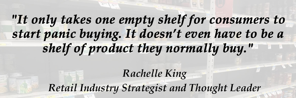 Rachelle King quote on panic buying