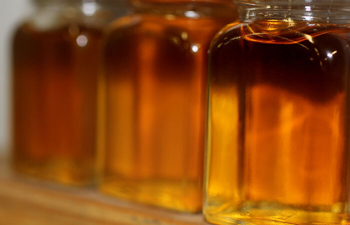maple syrup in glass jars